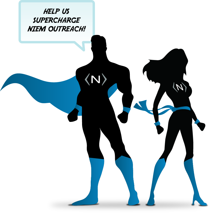 Photo of a male and female superhero that are saying in a quote box, Help us supercharge NIEM outreach!.